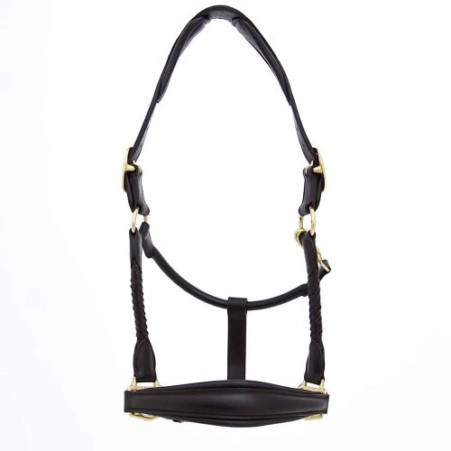 ALEQUI leather halter wide noseband havana brown brass full